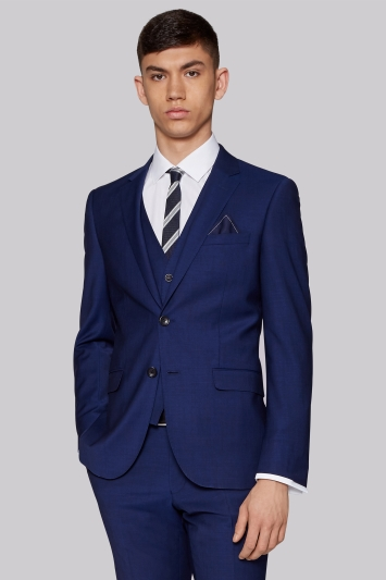 Moss London Performance Skinny Fit Bright Blue Jacket