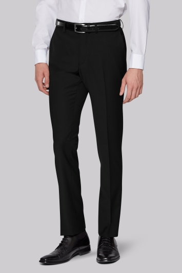 Moss London Performance Skinny Fit Black Trousers