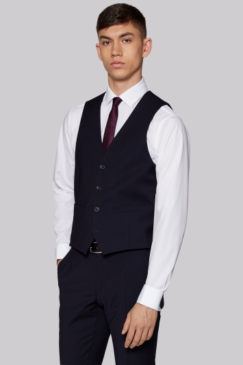 Moss London Performance Skinny Fit Navy Waistcoat