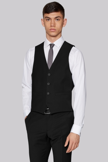 Moss London Performance Skinny Fit Black Waistcoat