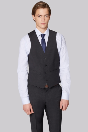 Moss London Performance Skinny Fit Charcoal Waistcoat