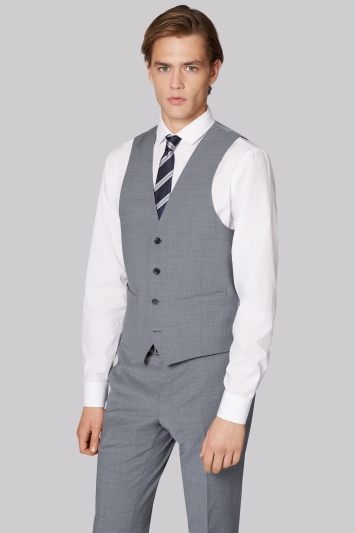 Moss London Performance Skinny Fit Light Grey Waistcoat