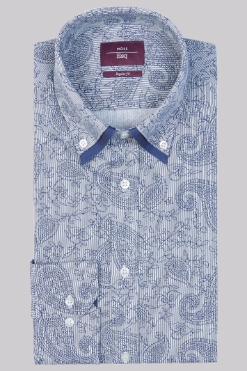 Moss Esq Regular Fit Grey and Navy Single Cuff Paisley Double Collar Shirt