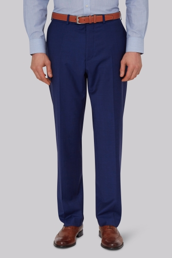 Moss Esq. Performance Regular Fit Bright Blue Trousers