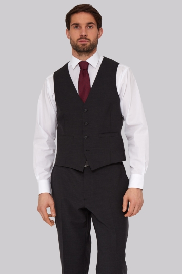 Moss Esq. Performance Regular Fit Charcoal Waistcoats