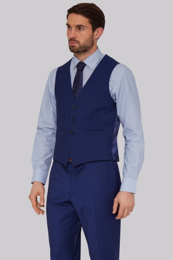 Moss Esq. Performance Regular Fit Bright Blue Waistcoats