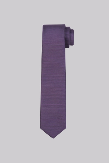 Moss London Purple Textured Horizontal Stripe Skinny Tie