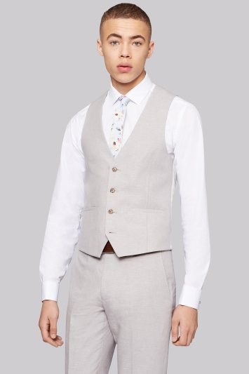 Moss London Slim Fit Light Grey Linen Waistcoat