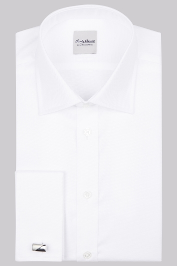Hardy Amies Slim Fit White Double Cuff Oxford Shirt