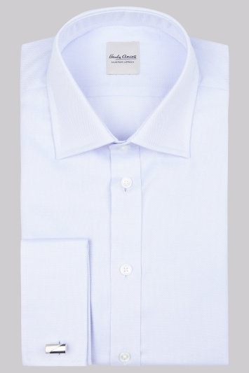 Hardy Amies Slim Fit Sky Double Cuff Oxford Shirt