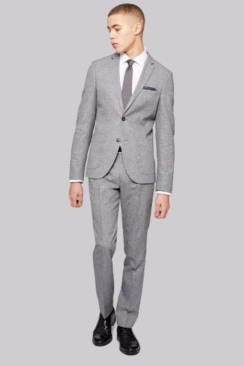 Moss London Slim Fit Grey Textured Jacket
