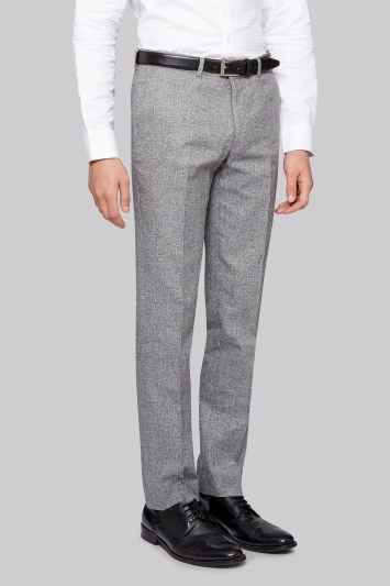 Moss London Slim Fit Grey Textured Trousers