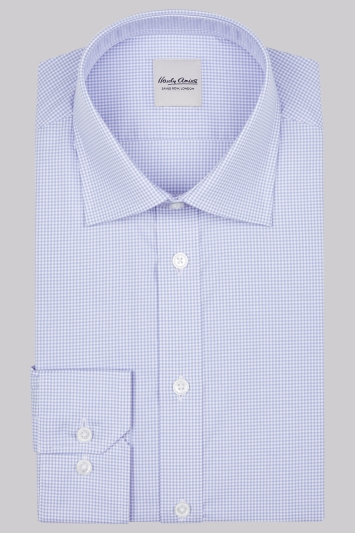 Hardy Amies Slim Fit Sky Single Cuff Gingham Shirt
