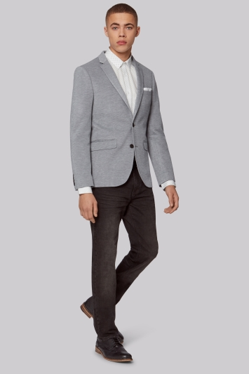 Moss London Slim Fit Silver Micro Weave Jersey Jacket