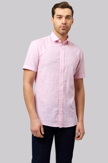 Moss 1851 Slim Fit Pink Linen Short Sleeve Casual Shirt