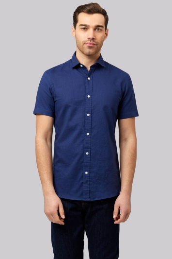 Moss 1851 Slim Fit Navy Linen Short Sleeve Casual Shirt