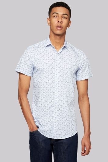 Moss London Extra Slim Fit Sky Short Sleeve Leaf Print Casual Shirt