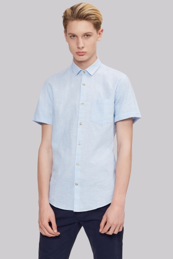 Moss London Extra Slim Fit Sky Linen Short Sleeve Casual Shirt
