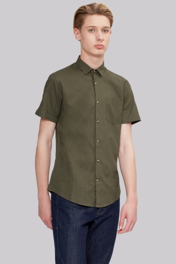 Moss London Extra Slim Fit Khaki Linen Short Sleeve Casual Shirt