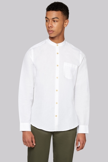 Moss London Extra Slim Fit White Linen Grandad Collar Casual Shirt