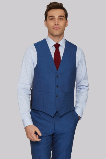 Moss 1851 Tailored Fit Peacock Blue Waistcoat