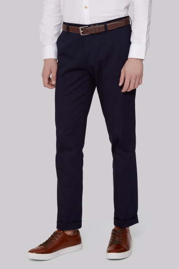 Moss London Slim Fit Navy Sateen Finish Chinos