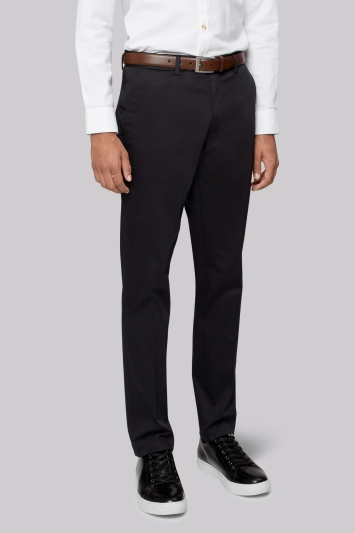 Moss London Slim Fit Black Sateen Finish Chinos