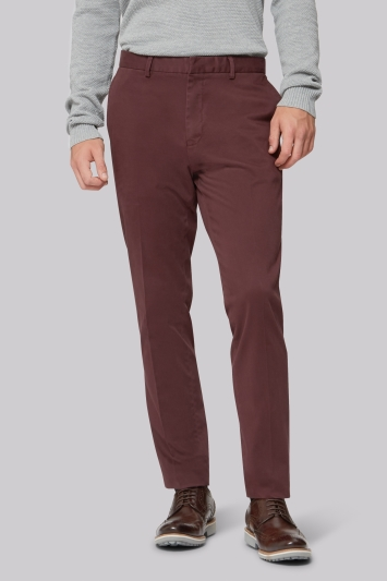 Moss London Wine Sateen Chinos