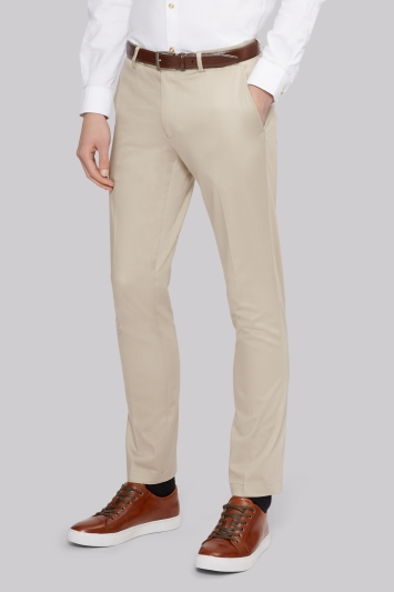 Moss London Slim Fit Stone Sateen Finish Chinos