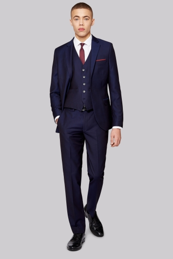 Moss London Skinny Fit Navy Jacquard Jacket