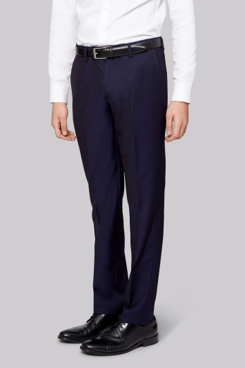 Moss London Skinny Fit Navy Jacquard Trousers