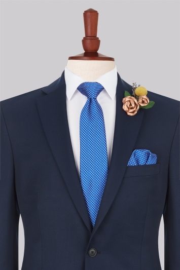 Moss Esq. Cobalt & Red Circle Silk Tie