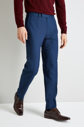 Moss Esquire Blue Sharkskin Trousers