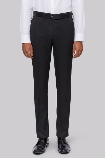 Moss London Slim Fit Machine Washable Black Trousers