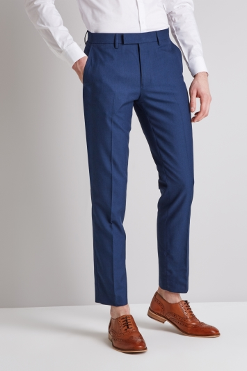 Moss London Slim Fit Blue Sharkskin Trousers