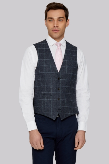 Moss 1851 Tailored British Wool Blue Grey Windowpane Waistcoat