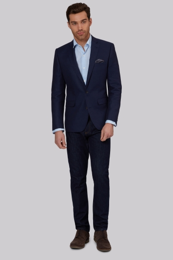 Moss 1851 Tailored Fit Navy Linen Cotton Textured Jacket
