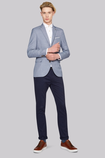 Moss London Slim Fit Sky Sharkskin Jacket