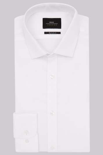 Moss London Premium Extra Slim Fit White Single Cuff Basket Weave Shirt
