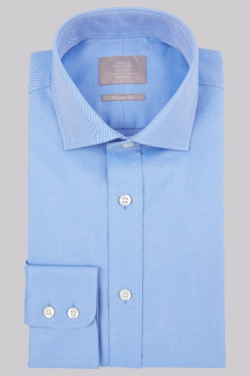 Savoy Taylors Guild Regular Fit Blue Single Cuff Twill Shirt