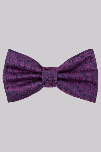 Moss 1851 Fuschia Medallion Bow Tie