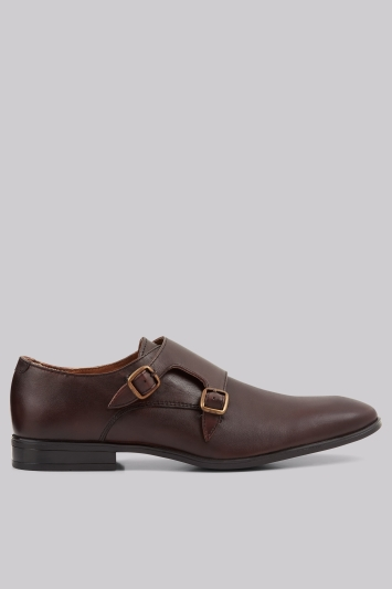 Moss London Fints Chocolate Double Monk Shoes
