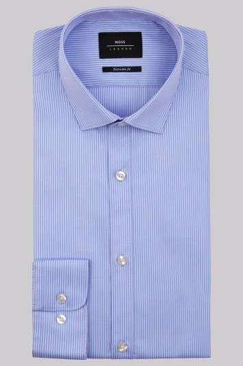Moss London Premium Extra Slim Fit Sky and Pink Single Cuff Stripe Shirt