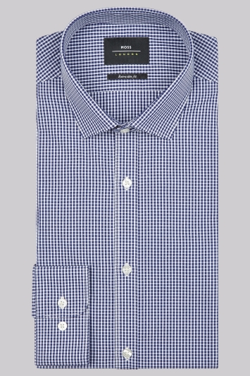 Moss London Extra Slim Fit Navy Single Cuff Check Shirt