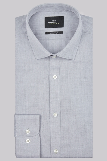 Moss London Premium Extra Slim Fit Grey Single Cuff Chambray Shirt