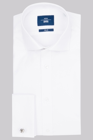 Moss 1851 Slim Fit White Double Cuff Oxford Textured Shirt