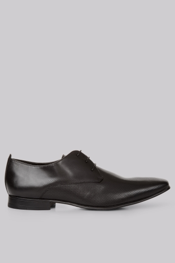 Moss London Charlton Pindot Black Derby Shoes