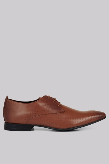 Moss London Charlton Pindot Tan Derby Shoes