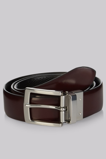 Moss London Black & Oxblood Reversible Belt