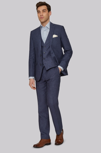 Moss 1851 Tailored Fit Indigo Linen Jacket